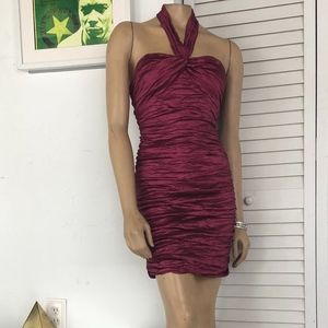BCBG SATIN RUCHED PARTY DRESS